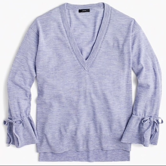 J. Crew Sweaters - J. Crew Merino V-neck Sweater Drawstring Sleeves